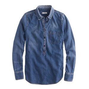 J. Crew Chambray denim popover shirt